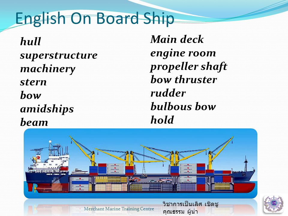 English On Board Ship Merchant Marine Training Centre hull superstructure machinery stern bow amidships beam Main deck engine room propeller shaft bow thruster rudder bulbous bow hold วิชาการเป็นเลิศ เชิดชู คุณธรรม ผู้นำ
