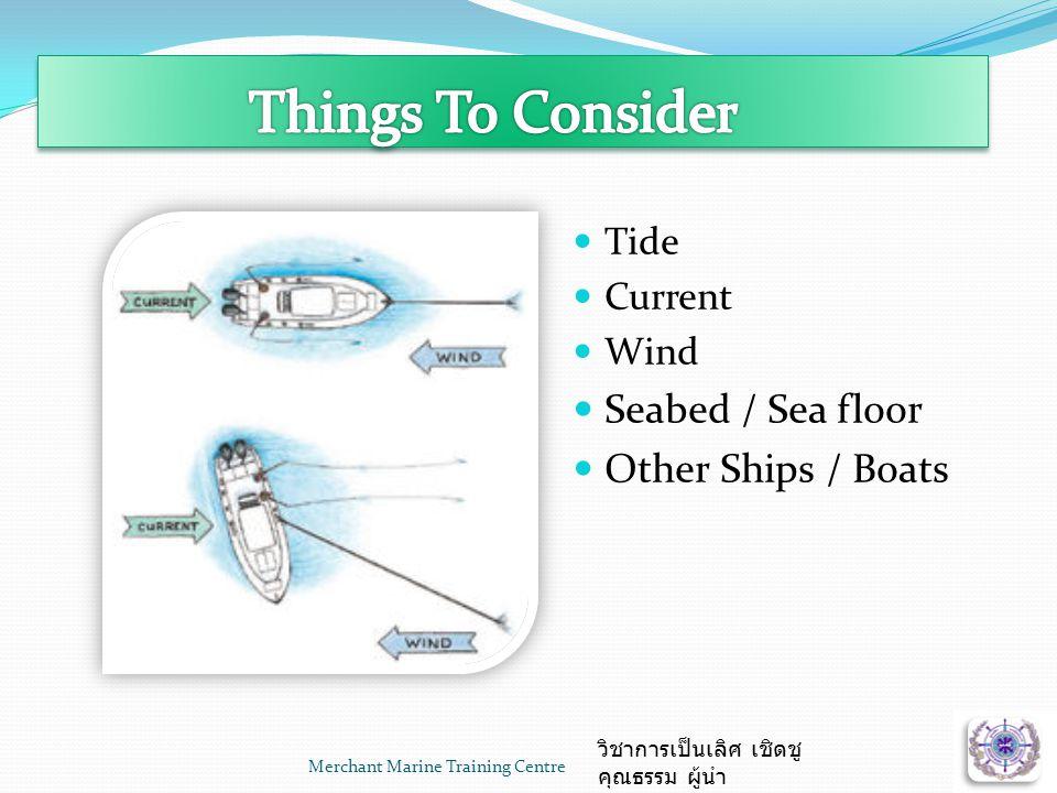 Merchant Marine Training Centre วิชาการเป็นเลิศ เชิดชู คุณธรรม ผู้นำ  Tide  Current  Wind  Seabed / Sea floor  Other Ships / Boats