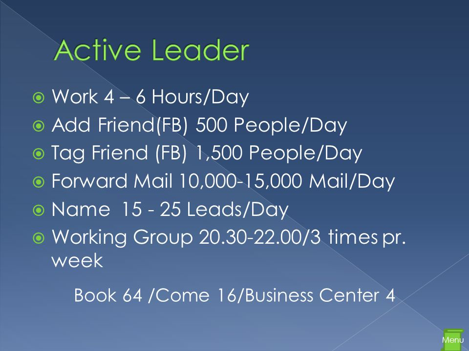  Work 4 – 6 Hours/Day  Add Friend(FB) 500 People/Day  Tag Friend (FB) 1,500 People/Day  Forward Mail 10,000-15,000 Mail/Day  Name 15 - 25 Leads/Day  Working Group 20.30-22.00/3 times pr.