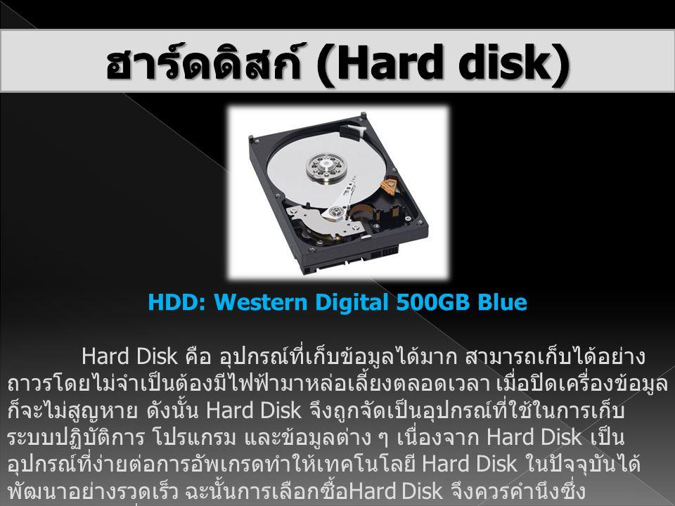 HDD: Western Digital 500GB Blue Hard Disk คือ อุปกรณ์ที่เก็บข้อมูลได้มาก สามารถเก็บได้อย่าง ถาวรโดยไม่จำเป็นต้องมีไฟฟ้ามาหล่อเลี้ยงตลอดเวลา เมื่อปิดเค
