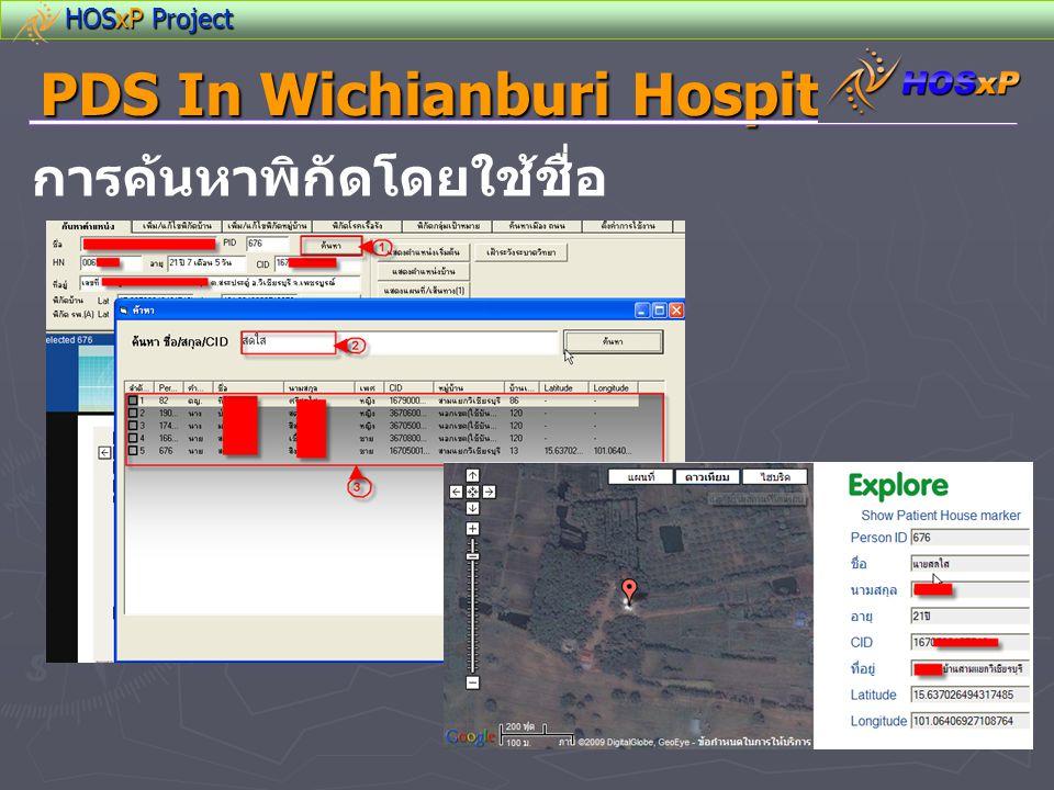 HOSxP Project PDS In Wichianburi Hospital การค้นหาพิกัดโดยใช้ชื่อ
