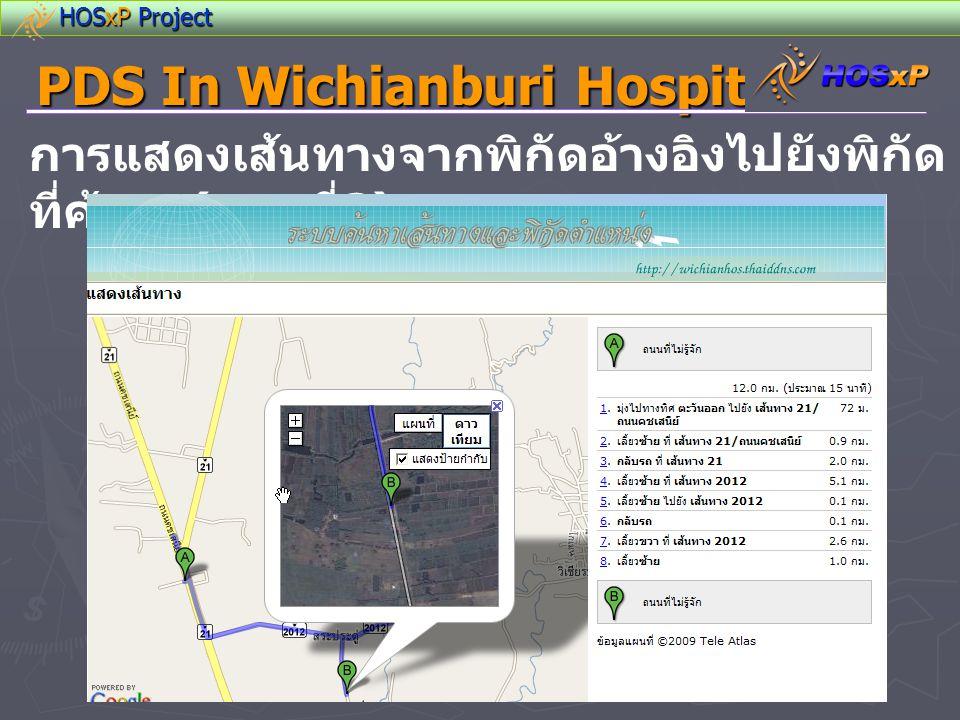 HOSxP Project PDS In Wichianburi Hospital การแสดงเส้นทางจากพิกัดอ้างอิงไปยังพิกัด ที่ค้นหา ( แบบที่ 2)