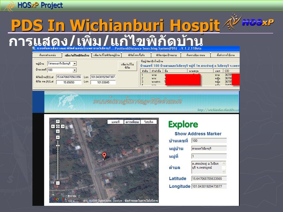 HOSxP Project PDS In Wichianburi Hospital การแสดง / เพิ่ม / แก้ไขพิกัดบ้าน