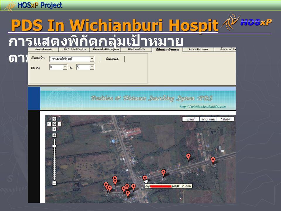 HOSxP Project PDS In Wichianburi Hospital การแสดงพิกัดกลุ่มเป้าหมาย ตามช่วงอายุ