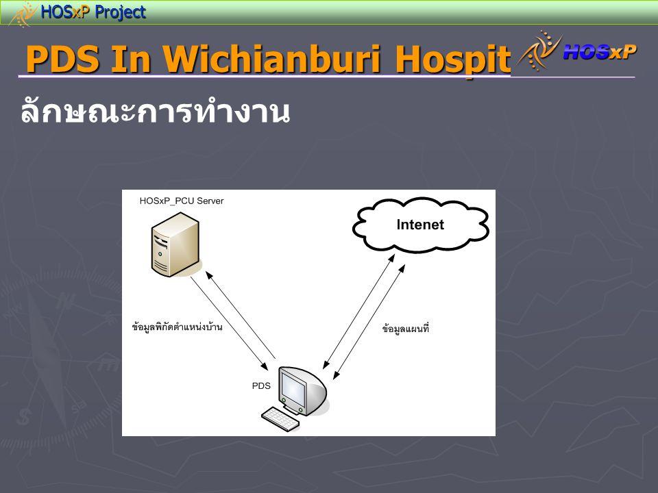 PDS In Wichianburi Hospital Web Service config - Web Server IIS 4.0 or Apache 1.0 ขึ้นไป - MySQL Server for HosXP MySQL 5.0 ขึ้นไป - Web Server กับ HOSxP Server,HOsxP_PCU Server อาจใช้เป็นเครื่องเดียวกัน หรือคนละเครื่องก็ได้ แนะนำควรแยกเครื่องเพื่อลดภาระของ HOSxP Server,HOsxP_PCU Server