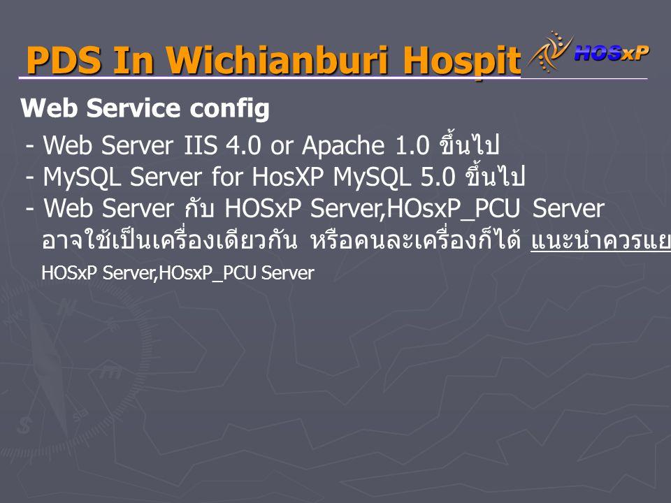 PDS In Wichianburi Hospital - กรณีผู้ใช้ MySQL 4.1 ขึ้นไปอาจจะเกินปัญหาเรื่อง Authentication ได้ให้ใช้คำสั่ง Set password for ' web ' @ ' % ' =old_password( ' passweb ' ); ใน MySQL Command line - ต้องลง MySQL ODBC Driver 3.51 ( ลงเฉยๆไม่ต้อง Config ค่าใดๆ ) - การใช้งานครั้งแรก ผู้ใช้งานต้องตั้งค่าการใช้งานก่อน และนำเอา folder Google - ไปวางในเว็ป root เช่น www.myweb.com/google - เปิด file config.inc.php แก้ไข Config MySQL server - ชี้ไปยัง IP ที่มีฐานข้อมูล MySQL HOSxP เปิดอยู่ Web Service config