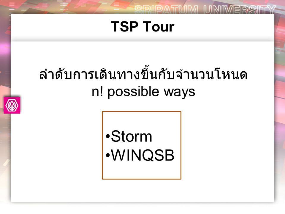 TSP Tour ลำดับการเดินทางขึ้นกับจำนวนโหนด n! possible ways •Storm •WINQSB