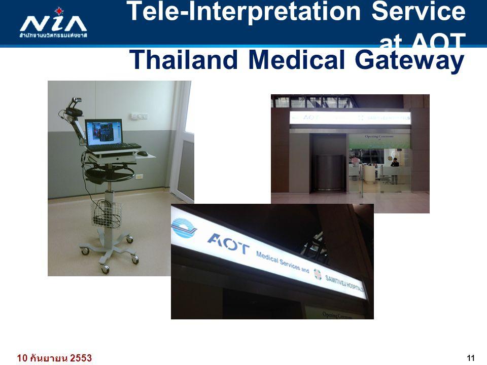 11 10 กันยายน 2553 Tele-Interpretation Service at AOT Thailand Medical Gateway