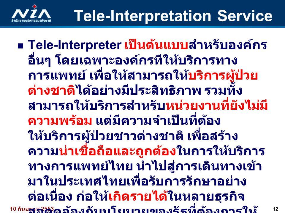 12 10 กันยายน 2553 Tele-Interpretation Service  Tele-Interpreter เป็นต้นแบบสำหรับองค์กร อื่นๆ โดยเฉพาะองค์กรทีให้บริการทาง การแพทย์ เพื่อให้สามารถให้
