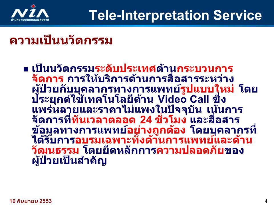 4 10 กันยายน 2553 Tele-Interpretation Service ความเป็นนวัตกรรม  เป็นนวัตกรรมระดับประเทศด้านกระบวนการ จัดการ การให้บริการด้านการสื่อสารระหว่าง ผู้ป่วย