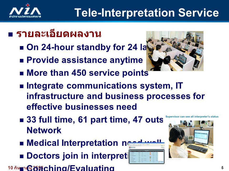 5 10 กันยายน 2553 Tele-Interpretation Service  รายละเอียดผลงาน  On 24-hour standby for 24 languages  Provide assistance anytime anywhere  More tha
