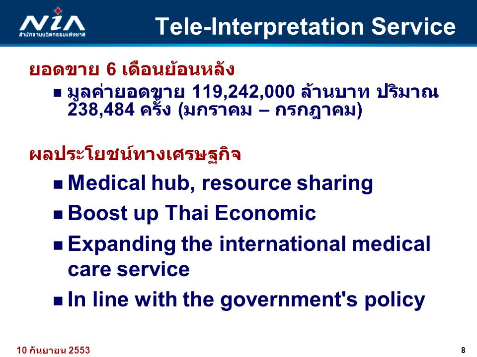 8 10 กันยายน 2553 Tele-Interpretation Service ยอดขาย 6 เดือนย้อนหลัง  มูลค่ายอดขาย 119,242,000 ล้านบาท ปริมาณ 238,484 ครั้ง ( มกราคม – กรกฎาคม ) ผลปร