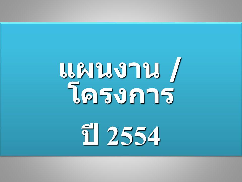 แผนงาน / โครงการ ปี 2554 แผนงาน / โครงการ ปี 2554