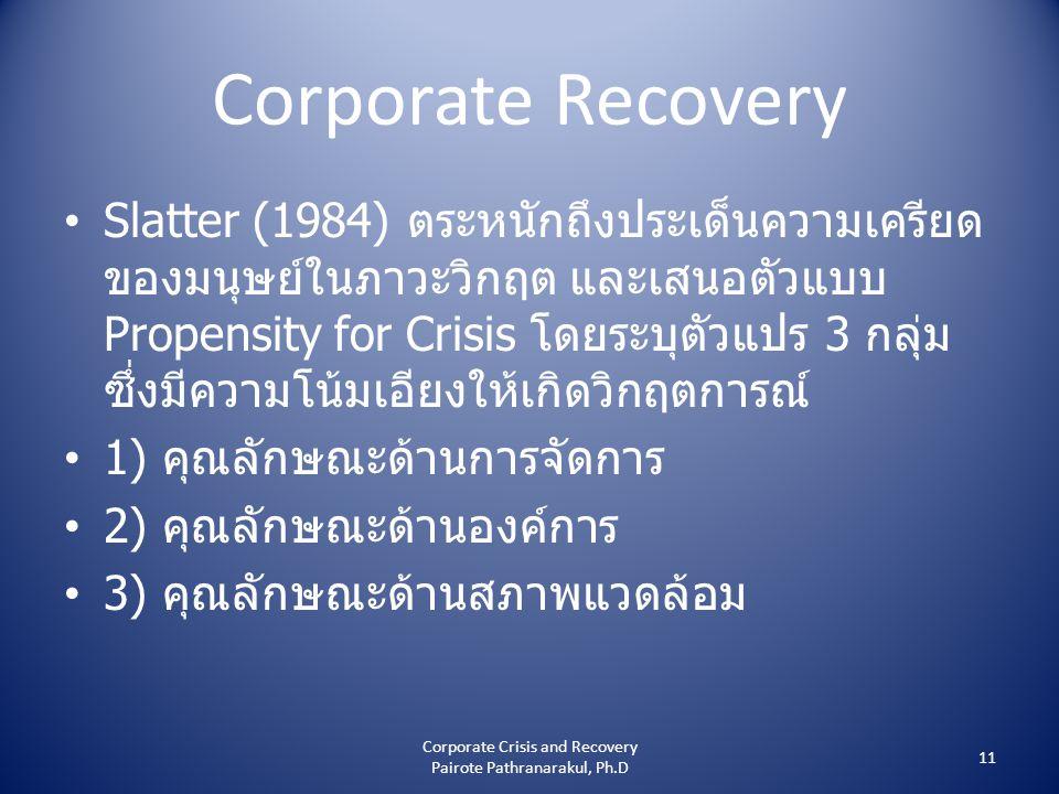 Corporate Recovery • Slatter (1984) ตระหนักถึงประเด็นความเครียด ของมนุษย์ในภาวะวิกฤต และเสนอตัวแบบ Propensity for Crisis โดยระบุตัวแปร 3 กลุ่ม ซึ่งมีความโน้มเอียงให้เกิดวิกฤตการณ์ • 1) คุณลักษณะด้านการจัดการ • 2) คุณลักษณะด้านองค์การ • 3) คุณลักษณะด้านสภาพแวดล้อม 11 Corporate Crisis and Recovery Pairote Pathranarakul, Ph.D
