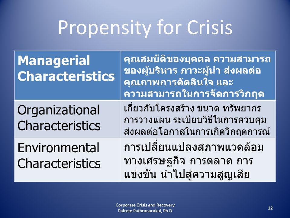 Propensity for Crisis Managerial Characteristics คุณสมบัติของบุคคล ความสามารถ ของผู้บริหาร ภาวะผู้นำ ส่งผลต่อ คุณภาพการตัดสินใจ และ ความสามารถในการจัดการวิกฤต Organizational Characteristics เกี่ยวกับโครงสร้าง ขนาด ทรัพยากร การวางแผน ระเบียบวิธีในการควบคุม ส่งผลต่อโอกาสในการเกิดวิกฤตการณ์ Environmental Characteristics การเปลี่ยนแปลงสภาพแวดล้อม ทางเศรษฐกิจ การตลาด การ แข่งขัน นำไปสู่ความสูญเสีย 12 Corporate Crisis and Recovery Pairote Pathranarakul, Ph.D