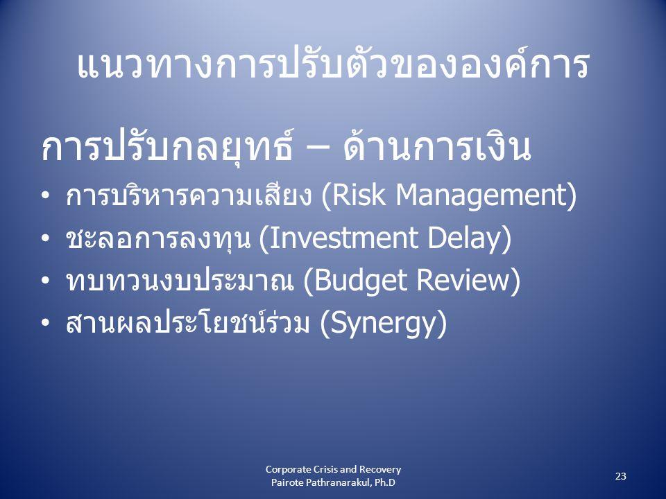 แนวทางการปรับตัวขององค์การ การปรับกลยุทธ์ – ด้านการเงิน • การบริหารความเสียง (Risk Management) • ชะลอการลงทุน (Investment Delay) • ทบทวนงบประมาณ (Budget Review) • สานผลประโยชน์ร่วม (Synergy) 23 Corporate Crisis and Recovery Pairote Pathranarakul, Ph.D