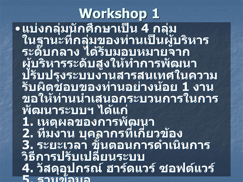 Workshop 1 • แบ่งกลุ่มนักศึกษาเป็น 4 กลุ่ม ในฐานะที่กลุ่มของท่านเป็นผู้บริหาร ระดับกลาง ได้รับมอบหมายจาก ผู้บริหารระดับสูงให้ทำการพัฒนา ปรับปรุงระบบงานสารสนเทศในความ รับผิดชอบของท่านอย่างน้อย 1 งาน ขอให้ท่านนำเสนอกระบวนการในการ พัฒนาระบบฯ ได้แก่ 1.
