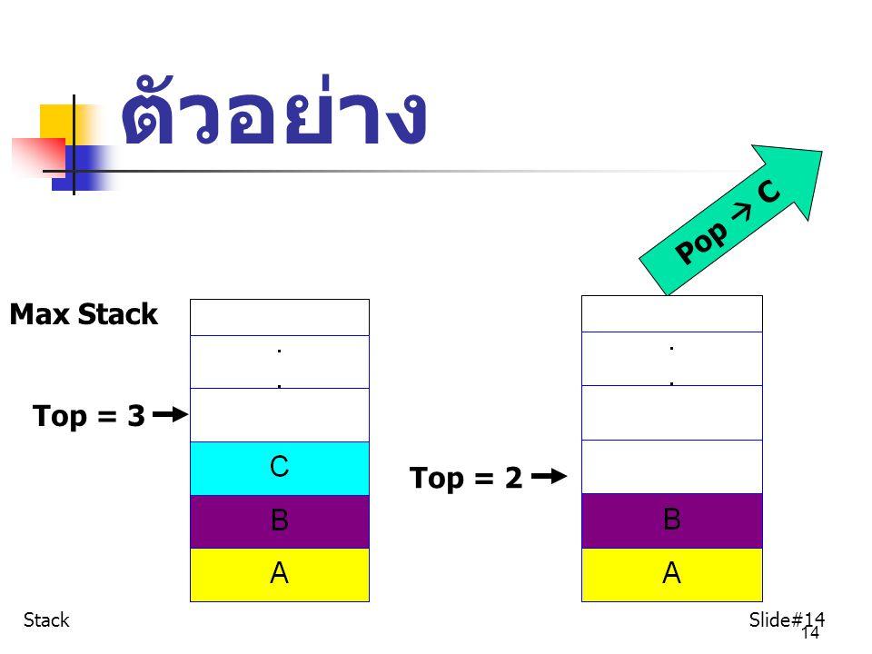14 ตัวอย่าง Max Stack Top = 3 Pop  C Top = 2 Stack Slide#14