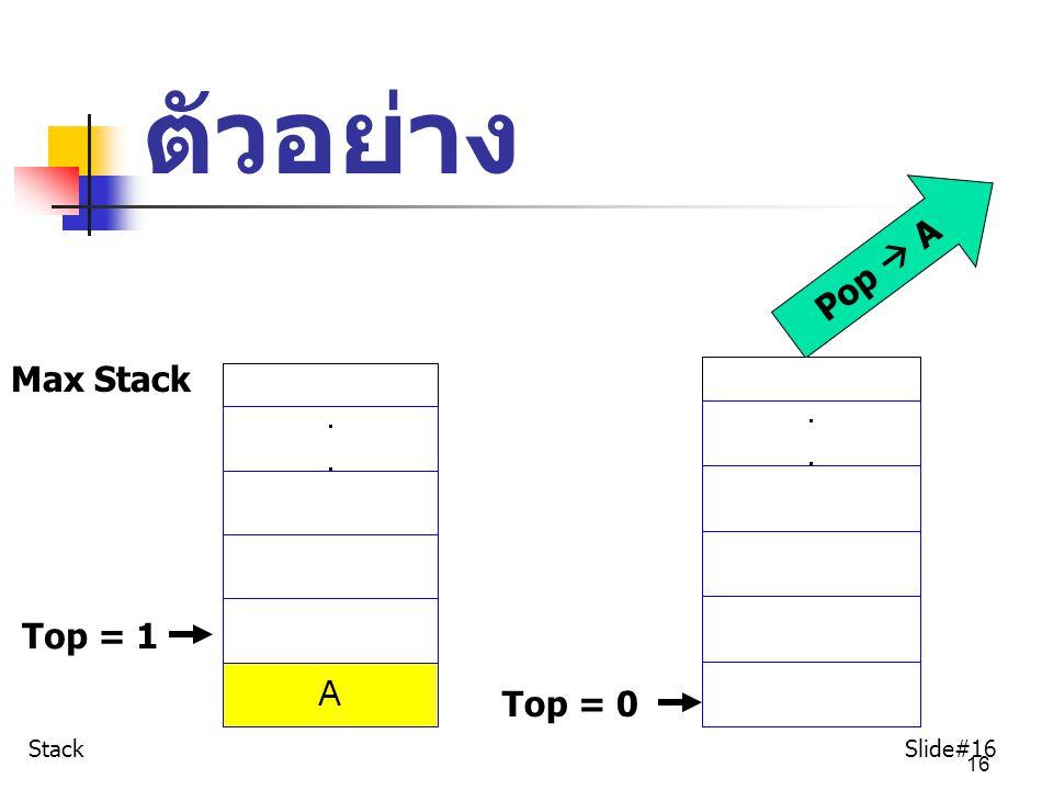 16 ตัวอย่าง Max Stack Pop  A Top = 1 Top = 0 Stack Slide#16