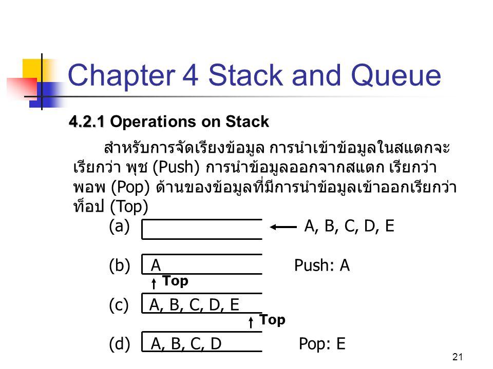 21 Chapter 4 Stack and Queue 4.2.1 4.2.1 Operations on Stack สำหรับการจัดเรียงข้อมูล การนำเข้าข้อมูลในสแตกจะ เรียกว่า พุช (Push) การนำข้อมูลออกจากสแตก