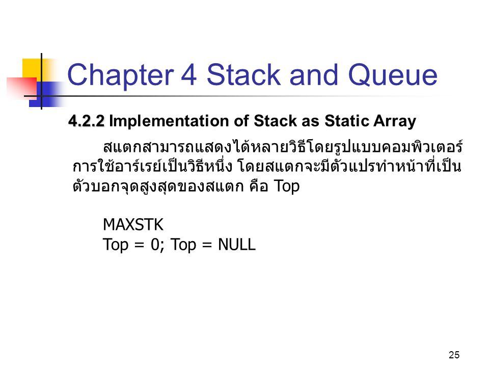 25 Chapter 4 Stack and Queue 4.2.2 4.2.2 Implementation of Stack as Static Array สแตกสามารถแสดงได้หลายวิธีโดยรูปแบบคอมพิวเตอร์ การใช้อาร์เรย์เป็นวิธีห