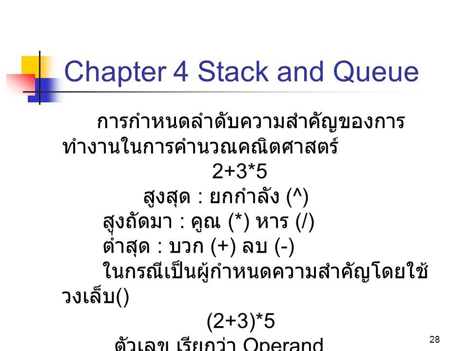 28 Chapter 4 Stack and Queue การกำหนดลำดับความสำคัญของการ ทำงานในการคำนวณคณิตศาสตร์ 2+3*5 สูงสุด : ยกกำลัง (^) สูงถัดมา : คูณ (*) หาร (/) ต่ำสุด : บวก