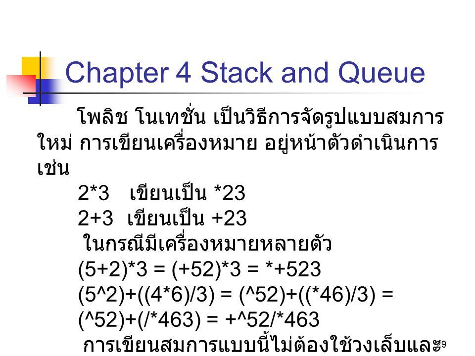 29 Chapter 4 Stack and Queue โพลิช โนเทชั่น เป็นวิธีการจัดรูปแบบสมการ ใหม่ การเขียนเครื่องหมาย อยู่หน้าตัวดำเนินการ เช่น 2*3 เขียนเป็น *23 2+3 เขียนเป