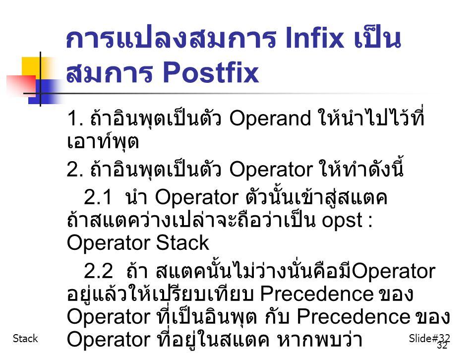 32 การแปลงสมการ Infix เป็น สมการ Postfix 1. ถ้าอินพุตเป็นตัว Operand ให้นำไปไว้ที่ เอาท์พุต 2. ถ้าอินพุตเป็นตัว Operator ให้ทำดังนี้ 2.1 นำ Operator ต