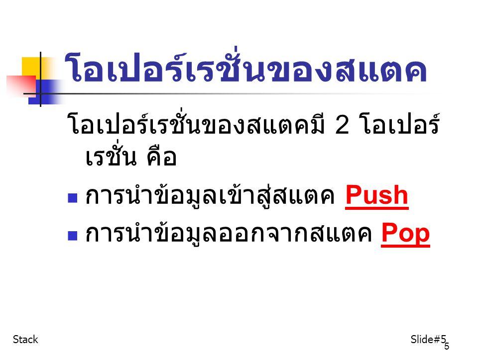 6 การนำข้อมูลเข้า สู่สแตค : Push สำหรับการนำข้อมูลเข้าสู่สแตคนั้น เรียกว่าการ Push การนำข้อมูลเข้าสู่สแตค แสดงได้ดังตัวอย่างตัวไปนี้ ตัวอย่าง ต้องการนำข้อมูล ต่อไปนี้เข้าสู่ สแตคที่ว่างเปล่า กำหนดข้อมูลดังต่อไปนี้ A, B, C,D Stack Slide#6