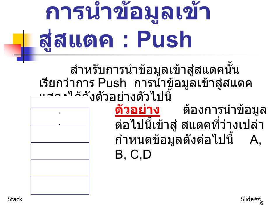 6 การนำข้อมูลเข้า สู่สแตค : Push สำหรับการนำข้อมูลเข้าสู่สแตคนั้น เรียกว่าการ Push การนำข้อมูลเข้าสู่สแตค แสดงได้ดังตัวอย่างตัวไปนี้ ตัวอย่าง ต้องการน