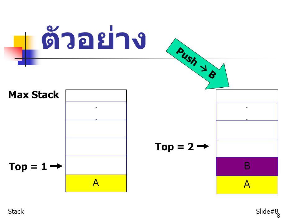 39 ตัวอย่างการหาผลลัพธ์ Stack Slide#39 OutputStackProcess 55 25,2 +5+2 37,3 +7+3=10 ตัวอย่าง กำหนดให้ A=5, B=2, C=3 จง หาผลลัพธ์ ของ AB+C+
