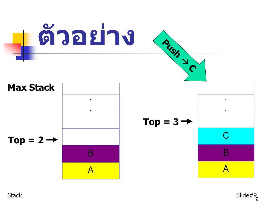40 จงหาค่าของนิพจน์ Postfix ต่อไปนี้ กำหนดให้ A=5, B=3, C=2, D=1, E=2, F=3, G=1, H=2 [1] AB+CD-* [2] ABC*+DE*F+G*+ [3] ให้หาค่านิพจน์ postfix ที่ได้จาก โจทย์ในแบบฝึกหัดที่ ผ่านมา  Stack Slide#40