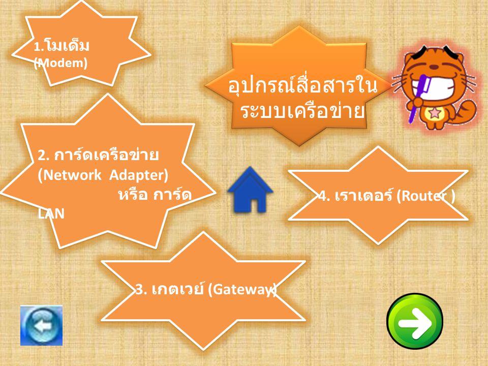 อุปกรณ์สื่อสารใน ระบบเครือข่าย 1.โมเด็ม (Modem) 2.