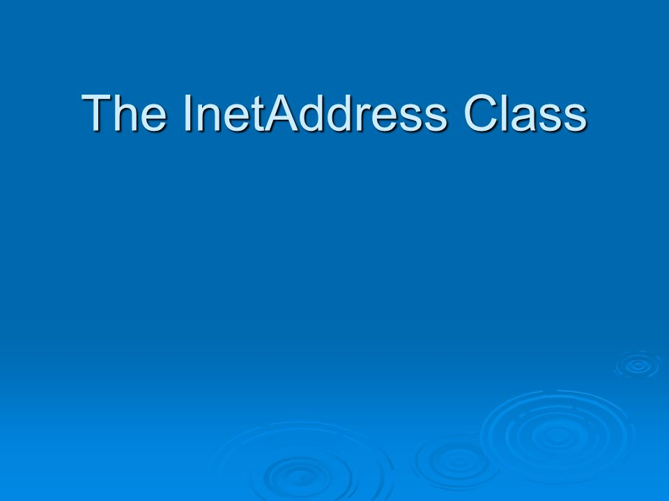 InetAddress getLocalHost( )  Return InetAddress ของเครื่องที่ใช้อยู่  InetAddress me = InetAddress.getLocalHost( ); import java.net.*; public class showipLocal { public static void main (String[] args) { try { InetAddress address = InetAddress.getLocalHost( ); System.out.println(address); } catch (UnknownHostException ex) { System.out.println( Could not find this computer s address. ); }