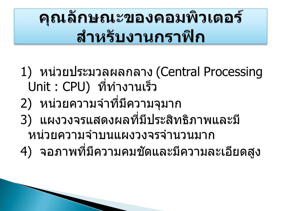1) หน่วยประมวลผลกลาง (Central Processing Unit : CPU) ที่ทำงานเร็ว 2) หน่วยความจำที่มีความจุมาก 3) แผงวงจรแสดงผลที่มีประสิทธิภาพและมี หน่วยความจำบนแผงว