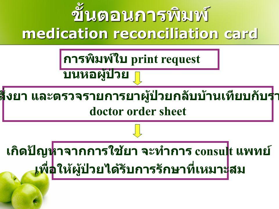 ขั้นตอนการพิมพ์ medication reconciliation card การพิมพ์ใบ print request บนหอผู้ป่วย เภสัชกร key ใบสั่งยา และตรวจรายการยาผู้ป่วยกลับบ้านเทียบกับรายการย
