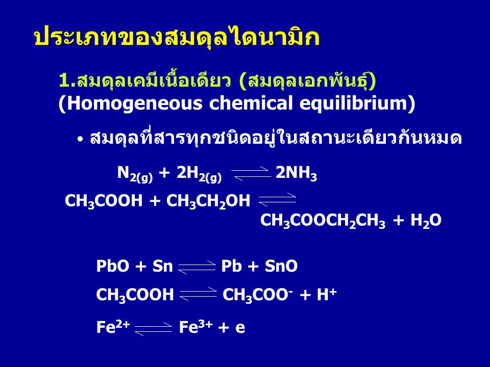 1.สมดุลเคมีเนื้อเดียว (สมดุลเอกพันธุ์) (Homogeneous chemical equilibrium) • สมดุลที่สารทุกชนิดอยู่ในสถานะเดียวกันหมด ประเภทของสมดุลไดนามิก N 2(g) + 2H