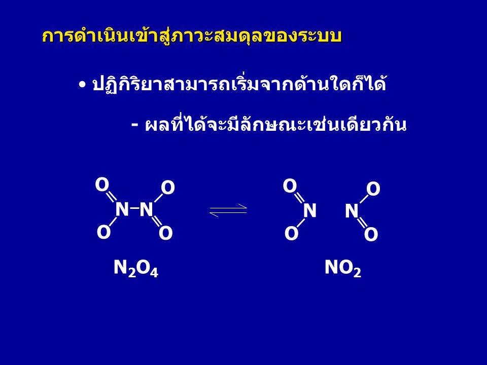 N2O4N2O4 NO 2 N N O O O O N O O N O O • ปฏิกิริยาสามารถเริ่มจากด้านใดก็ได้ - ผลที่ได้จะมีลักษณะเช่นเดียวกัน การดำเนินเข้าสู่ภาวะสมดุลของระบบ