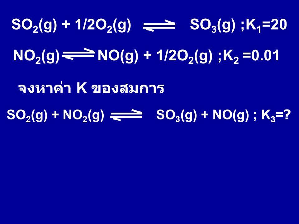 SO 2 (g) + 1/2O 2 (g) SO 3 (g) ;K 1 =20 NO 2 (g) NO(g) + 1/2O 2 (g) ;K 2 =0.01 จงหาค่า K ของสมการ SO 2 (g) + NO 2 (g) SO 3 (g) + NO(g) ; K 3 =?