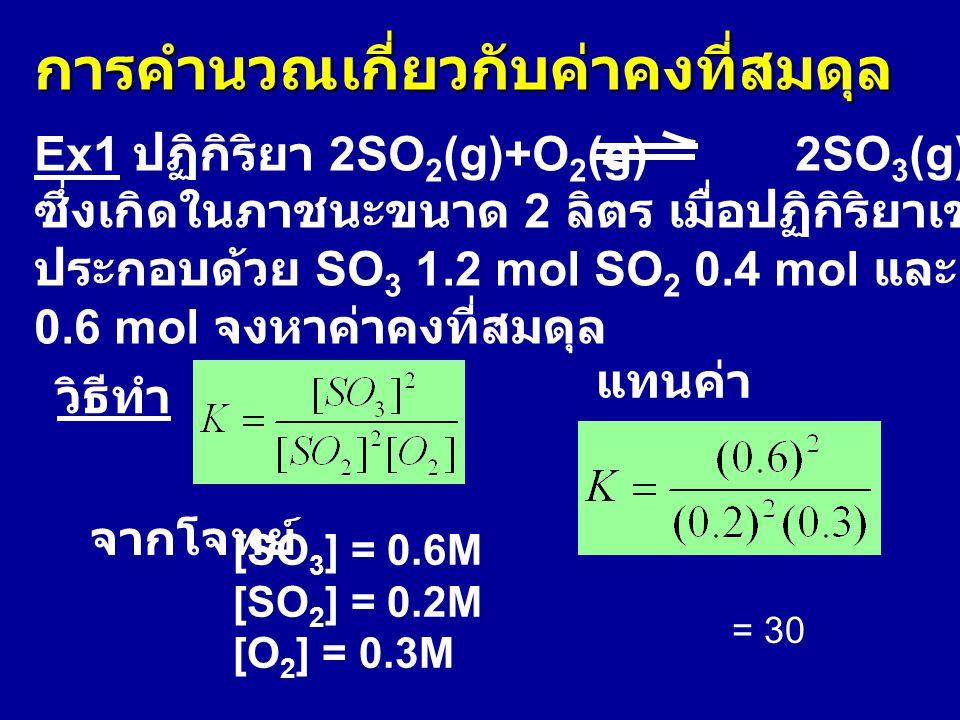 การคำนวณเกี่ยวกับค่าคงที่สมดุล Ex1 ปฏิกิริยา 2SO 2 (g)+O 2 (g) 2SO 3 (g) ซึ่งเกิดในภาชนะขนาด 2 ลิตร เมื่อปฏิกิริยาเข้าสู่สมดุลพบว่าในภาชนะ ประกอบด้วย