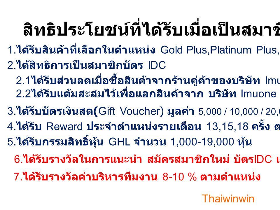 ตำแหน่งบัตร IDC Gold Plus Platinum Plus 12 Diamond 3456 41---- 91---- - - - 11 19 10 5 Half เว็ปไซด์ตลาดหุ้น www.bursamalaysia.com 2-- - 32 222 เลือกรับ แบบ เดือนที่ 6 ครั้ง บัตร IDC-K Gen มีกรรมสิทธิ์หุ้น (GHL)=13,15,18 เดือน ตามตำแหน่ง มูลค่าหุ้น (GHL) ตามตลาดหุ้นมาเลเซีย / ได้รับหุ้นในวันที่ 8 Full -- 17