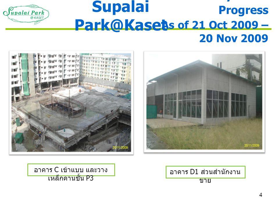 4 อาคาร D1 ส่วนสำนักงาน ขาย Monthly Photo Progress As of 21 Oct 2009 – 20 Nov 2009 Supalai Park@Kaset อาคาร C เข้าแบบ และวาง เหล็กคานชั้น P3
