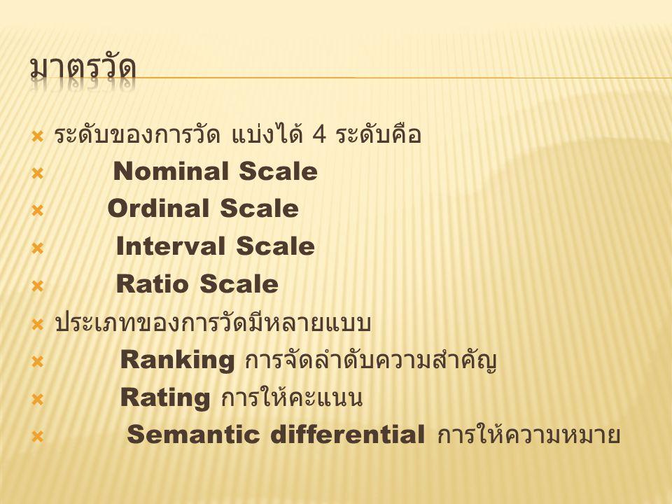  ระดับของการวัด แบ่งได้ 4 ระดับคือ  Nominal Scale  Ordinal Scale  Interval Scale  Ratio Scale  ประเภทของการวัดมีหลายแบบ  Ranking การจัดลำดับความสำคัญ  Rating การให้คะแนน  Semantic differential การให้ความหมาย