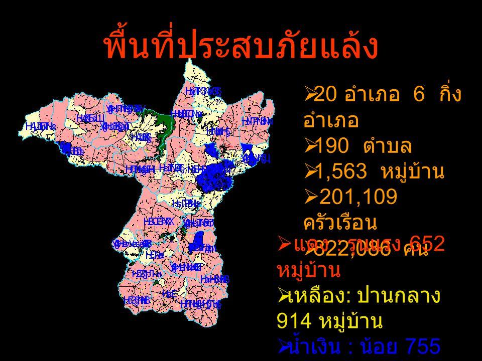 พื้นที่ประสบภัยแล้ง  20 อำเภอ 6 กิ่ง อำเภอ  190 ตำบล  1,563 หมู่บ้าน  201,109 ครัวเรือน  822,086 คน  แดง : รุนแรง 652 หมู่บ้าน  เหลือง : ปานกลา