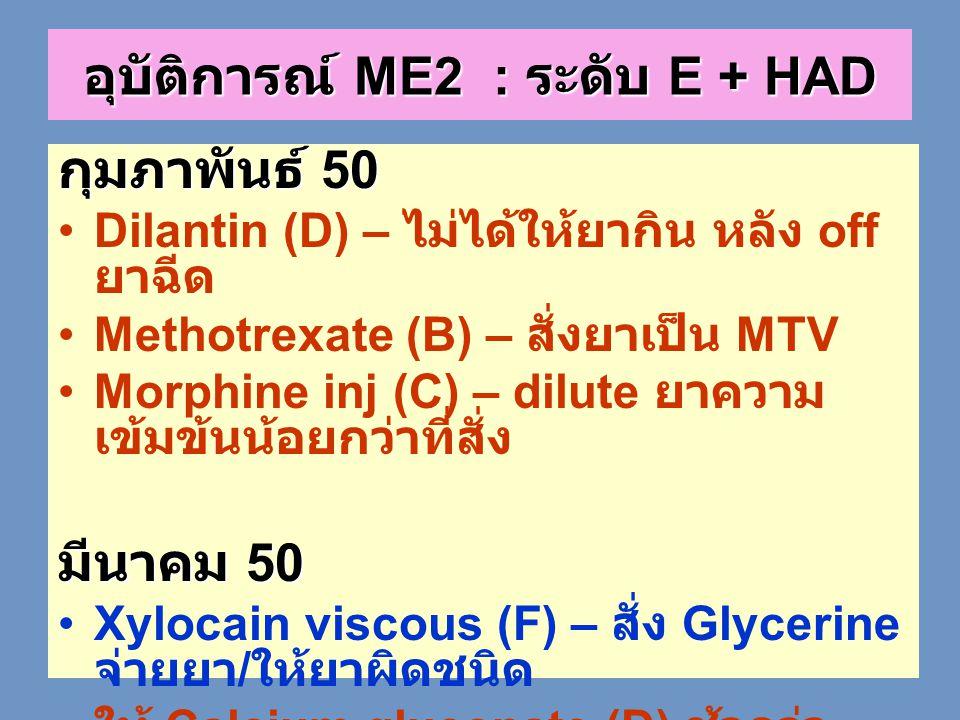 กุมภาพันธ์ 50 •Dilantin (D) – ไม่ได้ให้ยากิน หลัง off ยาฉีด •Methotrexate (B) – สั่งยาเป็น MTV •Morphine inj (C) – dilute ยาความ เข้มข้นน้อยกว่าที่สั่
