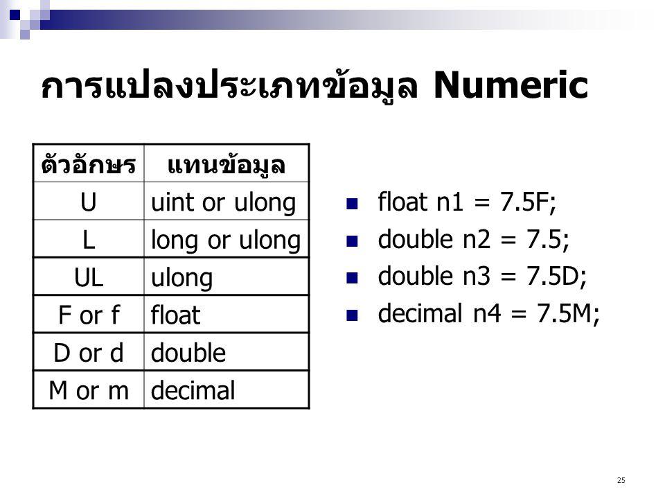 25 การแปลงประเภทข้อมูล Numeric  float n1 = 7.5F;  double n2 = 7.5;  double n3 = 7.5D;  decimal n4 = 7.5M; ตัวอักษรแทนข้อมูล Uuint or ulong Llong or ulong ULulong F or ffloat D or ddouble M or mdecimal