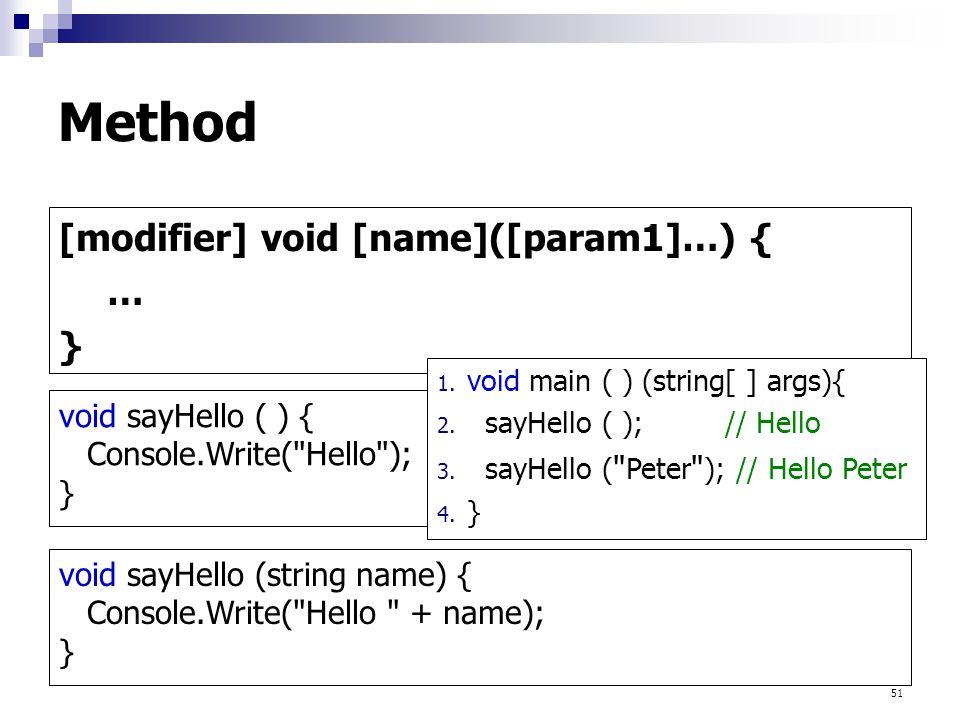 51 Method [modifier] void [name]([param1]…) { … } void sayHello ( ) { Console.Write( Hello ); } void sayHello (string name) { Console.Write( Hello + name); } 1.