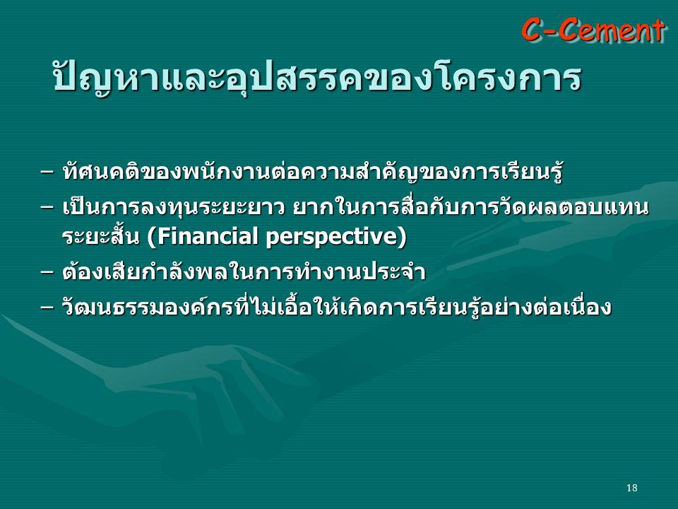 18 C-Cement ปัญหาและอุปสรรคของโครงการ –ทัศนคติของพนักงานต่อความสำคัญของการเรียนรู้ –เป็นการลงทุนระยะยาว ยากในการสื่อกับการวัดผลตอบแทน ระยะสั้น (Financial perspective) –ต้องเสียกำลังพลในการทำงานประจำ –วัฒนธรรมองค์กรที่ไม่เอื้อให้เกิดการเรียนรู้อย่างต่อเนื่อง