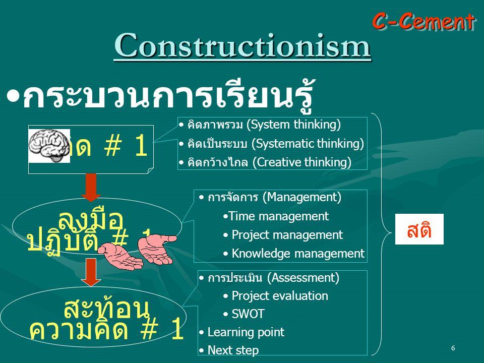 6 Constructionism • กระบวนการเรียนรู้ คิด # 1 ลงมือ ปฏิบัติ # 1 สะท้อน ความคิด # 1 C-Cement • คิดภาพรวม (System thinking) • คิดเป็นระบบ (Systematic th
