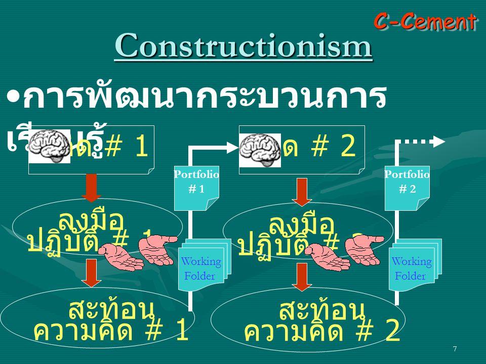 7 Constructionism • การพัฒนากระบวนการ เรียนรู้ คิด # 1 ลงมือ ปฏิบัติ # 1 สะท้อน ความคิด # 1 ลงมือ ปฏิบัติ # 2 สะท้อน ความคิด # 2 คิด # 2 C-Cement Working Folder Portfolio # 1 Working Folder Portfolio # 2